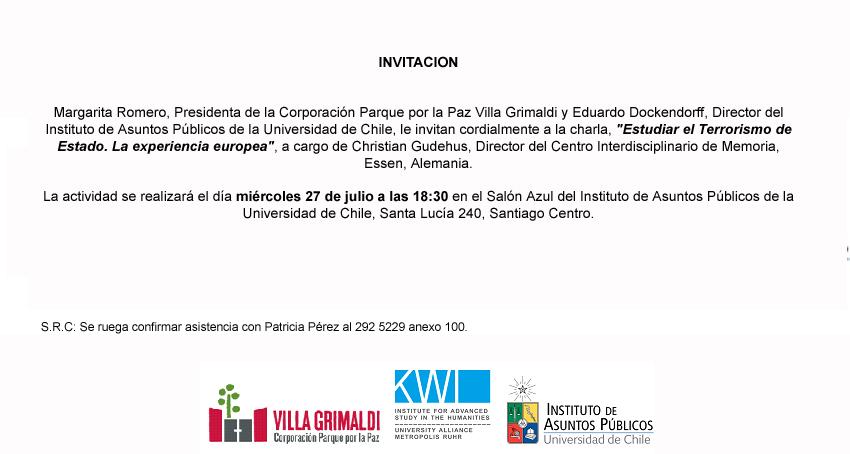 Chile: Charla Terrorismo de Estado. Christian Gudehus. 27 de julio